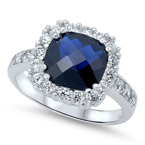 wedding blue sapphire cz halo promise ring 925 sterling