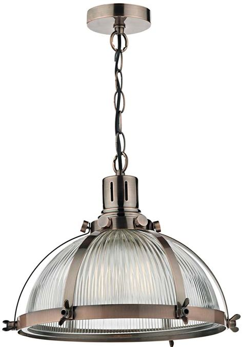 Dar Debut Copper Industrial Style Ribbed Glass Pendant Industrial Style Pendant Lights