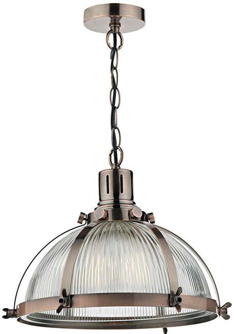 Industrial Style Pendant Lighting Dar Debut Copper Industrial Style Ribbed Glass Pendant Light Deb0164