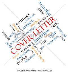 clip art of cover letter word cloud concept angled cover