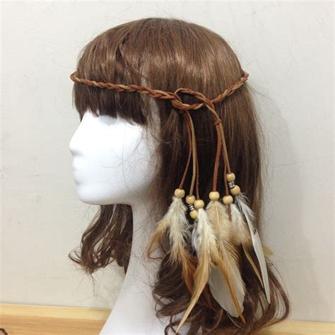 Handmade Hair Style - a of bohemia folk style hair feather hair band
