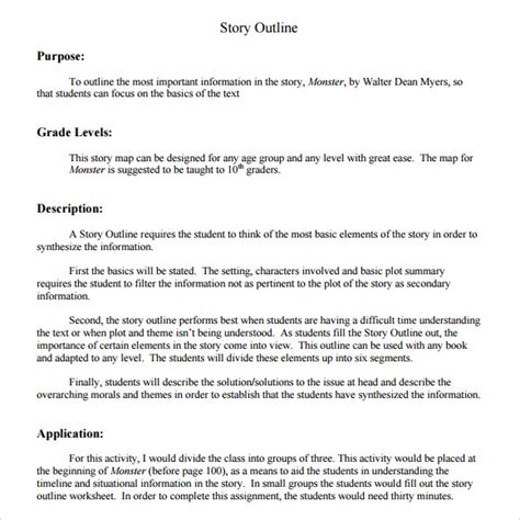 story outline template for story outline template 9 free documents in pdf
