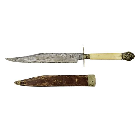 blade and sheath sheffield bowie knife with etched blade and sheath