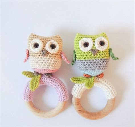 amigurumi ring pattern crochet pattern rattle teething ring little owls