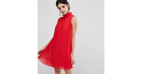 swing dress with high neck asos sleeveless high neck pleated swing dress in red lyst