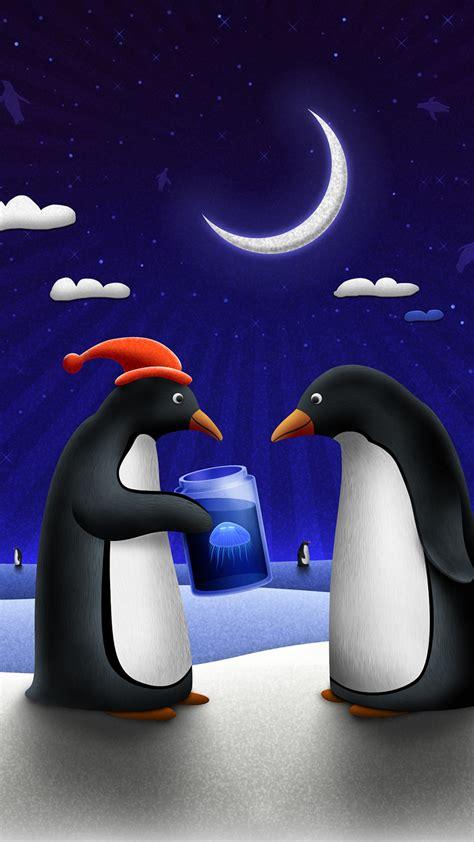 wallpaper penguins santa hat clouds  moon winter celebrations christmas