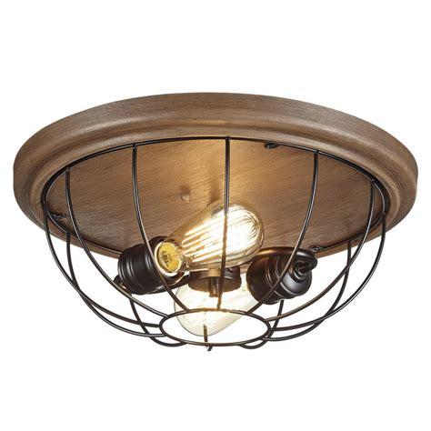 home decorators collection 15 75 in 2 light vintage - Cage Flush Mount Light