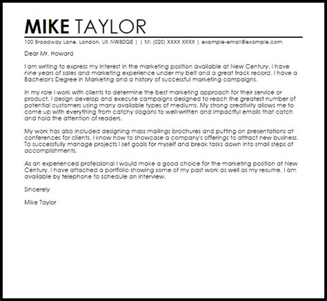 best solutions of cover letter for marketing internship