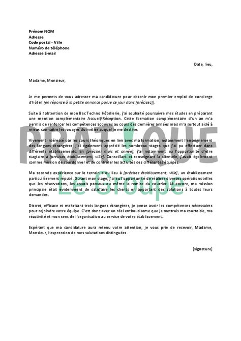 Lettre De Motivation Barman Hotel Lettre De Motivation Pour Un Emploi De Concierge D H 244 Tel D 233 Butant Pratique Fr