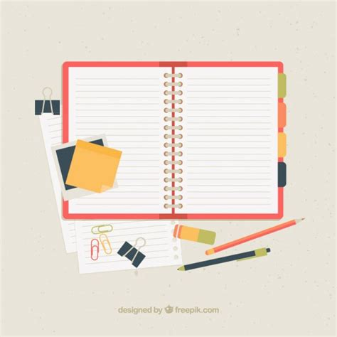 open notebook with accessories vector free download