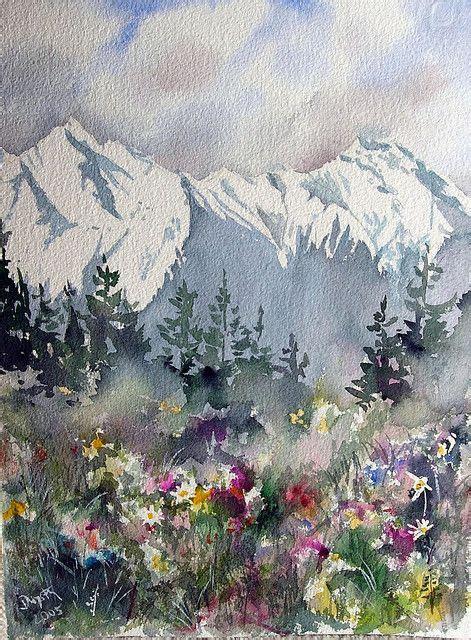 Watercolor Tutorial Mountains | mountain meadow artist dieter wystemp c 2005