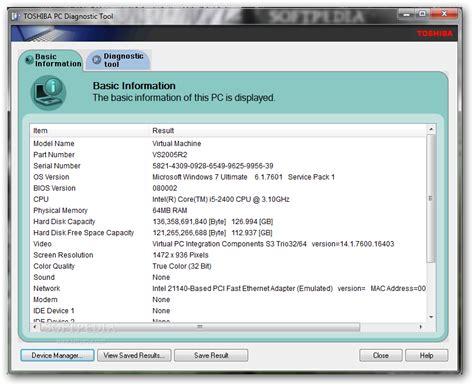 toshiba pc diagnostic tool 3 2 6