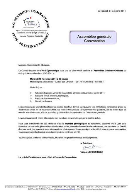 Exemple De Lettre Veuillez Trouver Ci Joint Assemblee Generale 2011 Convocation