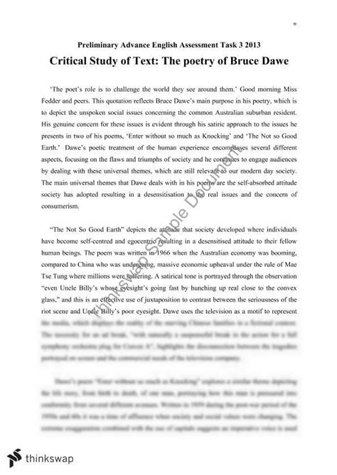 Bruce Dawe Essay by Critical Study Of Text The Poetry Of Bruce Dawe Year 11 Hsc Advanced Thinkswap