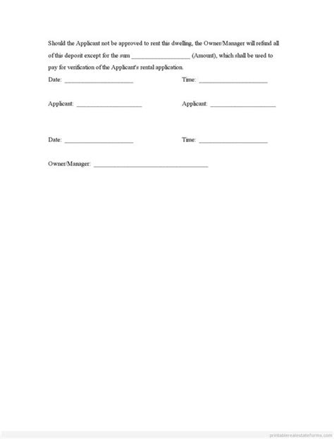 receipt template for escrow money sle printable deposit receipt and agreement form