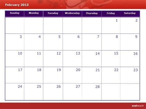 February 2013 Calendar Template Calendar February 2013 Rm Easilearn Us