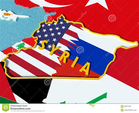 usa russia map usa and russia conflict situation in syria 3d