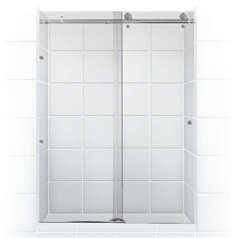meridian series frameless glass sliding barn door