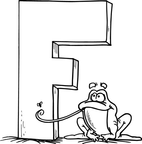 coloring page for the letter f printable page of a letter f and a cartoon frog coloring