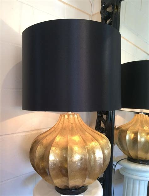 L With Black Shade by Large Gold Chunky Base Modern Table L Black Shade