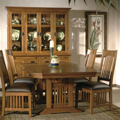 hekman arts crafts mission pointe trestle dining set