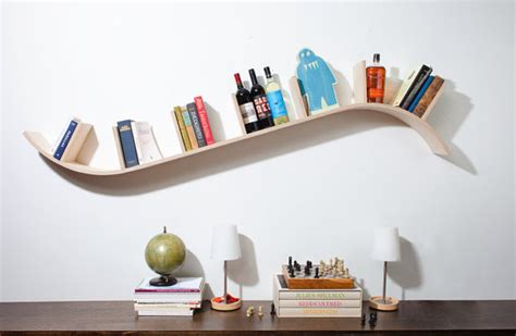 modern curved bookshelf by perfekte velle contemporary display and wall shelves by etsy