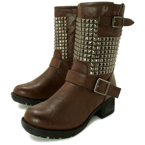 brown biker style boots buy jazlyn flat studded biker ankle boots brown