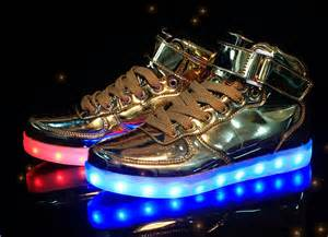 light up shoes gold high top light shoes