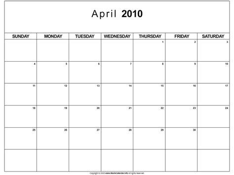 April 2010 Calendar April Calendar 2010