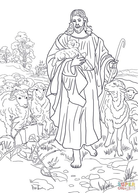 coloring page jesus the good shepherd download