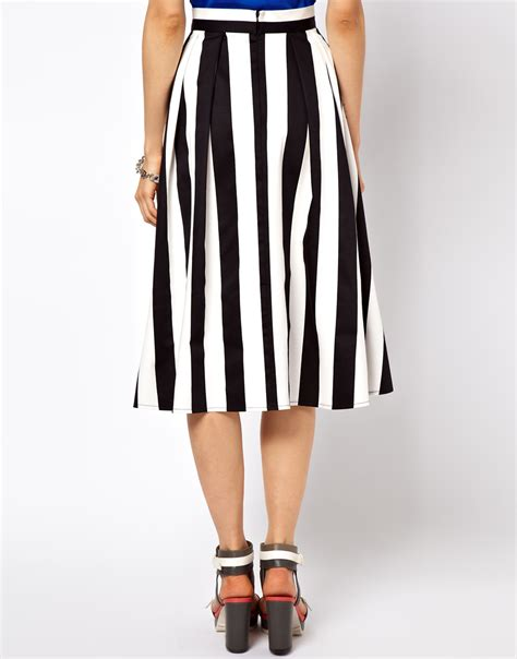 asos collection midi skirt in bold stripe in white lyst