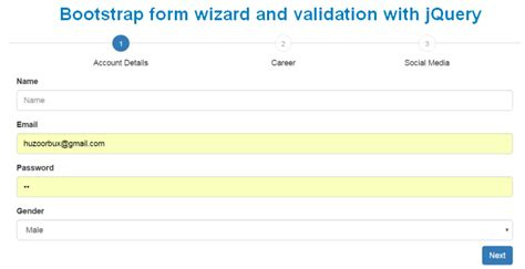 bootstrap tutorial with jquery create bootstrap form wizard and validation with jquery
