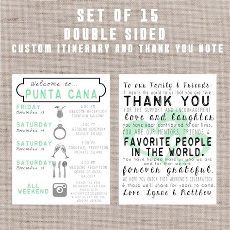 wedding welcome bag itinerary template destination wedding welcome bag letters and guest