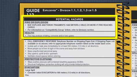 yellow section of erg dot emergency response guidebook erg introduction video
