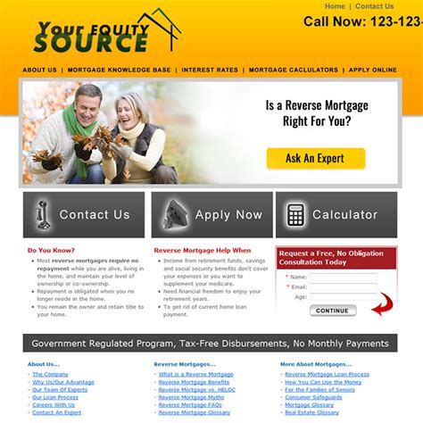 Reverse Mortgage Website Templates Loan Officer Website Templates