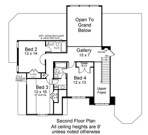 second floor house plans loudon 6480 4 bedrooms and 3 baths the house designers