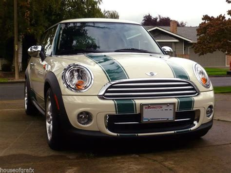 Pita Jepit Mini Green Stripes 069 bonnet boot stripes decals graphics fit mini cooper