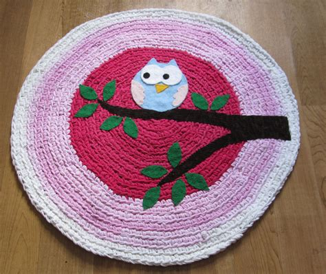 owl rugs ooak upcycled crochet rug owl rug nursery rug made to