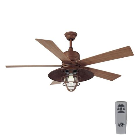indoor outdoor ceiling fan with light hton bay metro 54 in indoor outdoor rustic copper