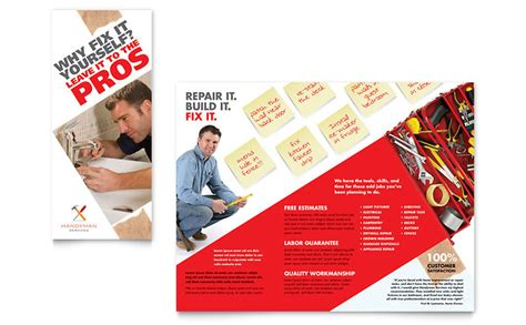 Handyman Services Tri Fold Brochure Template Word Publisher Free Handyman Templates