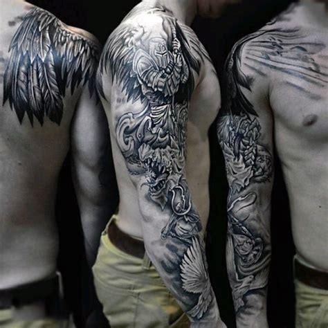 tattoo arm warrior sharp designed black and white fantasy angel warrior