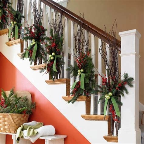 beautiful christmas stair garlands