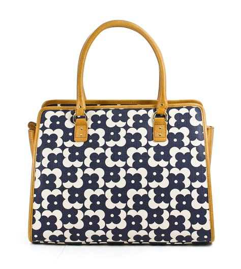 orla kiely shadow dot print textured vinyl flower ella satchel bag navy new ebay