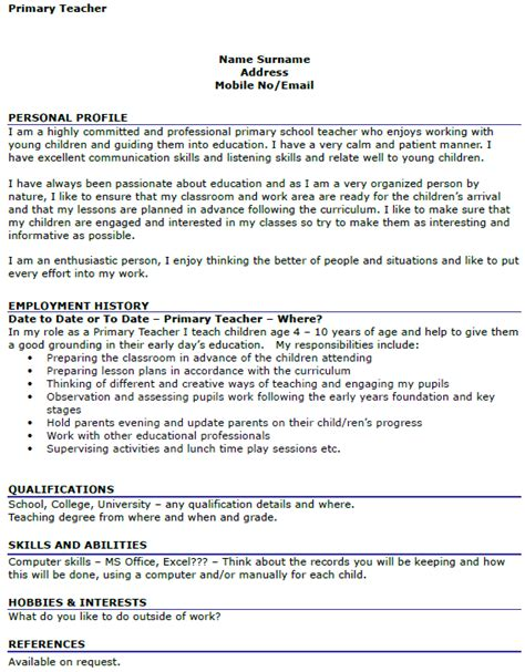 exle curriculum vitae for teachers primary teacher cv exle icover org uk