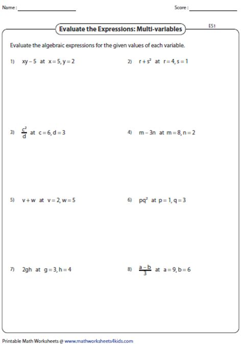 printable math worksheets evaluating expressions evaluating algebraic expression worksheets