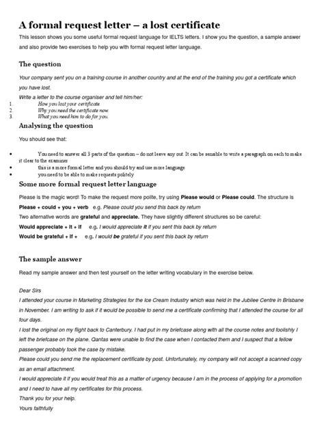 lost certificate request letter docsharetips
