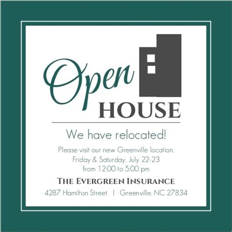 printable open house invitations modern everygreen business open house invitation