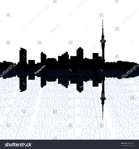 Auckland Skyline Outline by Auckland Skyline With Perspective Text Outline Foreground Stock Vector Illustration 48389053