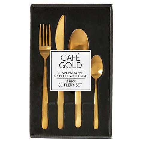 Cafe Set cafe gold 16 cutlery set target australia