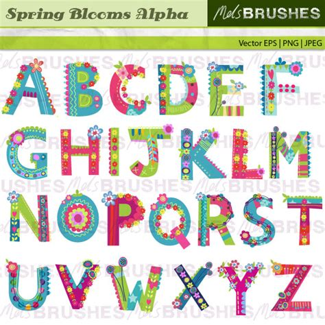 printable letters spring a chic and colourful patterned floral clip art alphabet